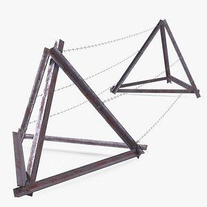 wire entanglement barrier razors 3D