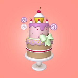 3D birthday cake cartoon