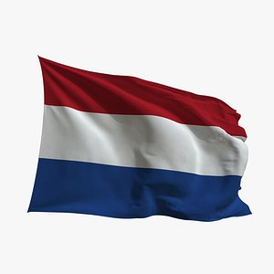 Realistic Animated Flag - Microtexture Rigged - Put your own texture - Def Netherlands 3D