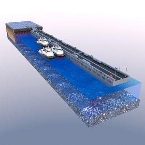 berth pontoon tugs 3D model