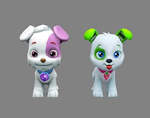 Cartoon puppy - white male dog - Pet dog 3D model