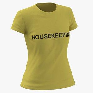 Female Crew Neck Worn Yellow Housekeeping 03 3D model