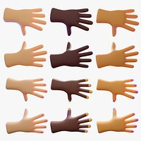 Different skincolors and gender of cartoon human hands advanced rigging