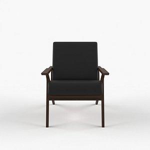 3D black leather walnut lounge