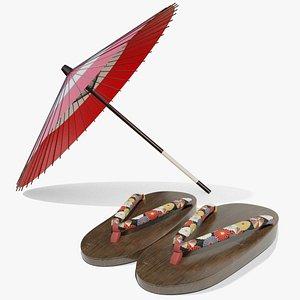 Japanese Parasol and Geta Set 3D model
