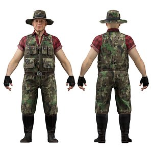 hunter fisher man 3D model