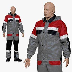 3D 001156 engineering suit light gray