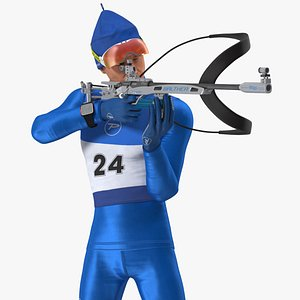 Biathlete Fully Equipped USA Team Rigged for Maya 3D model