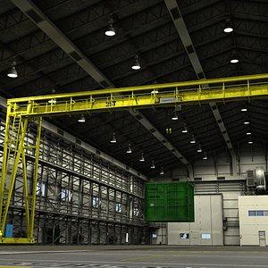 Warehouse with crane model