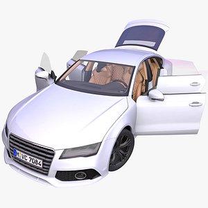 3D generic 4-door fastback interior car