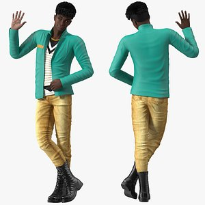 3D model Dark Skin Teenager Fashionable Style Rigged for Cinema 4D