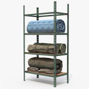 3D Fabric rolls on shelves model