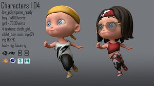 casual characters kids 3D model