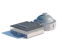 Administration city building with a cupola 3D model
