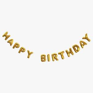 Foil Baloon Words Happy Birthday Gold 3D model