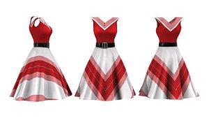 3D V Retro Dress