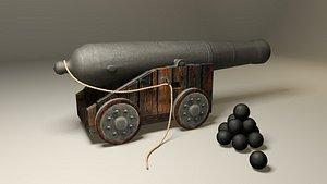 3D pirate cannon vessel