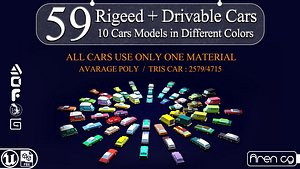 3D 59 rigged and drivable Lowpoly cars model
