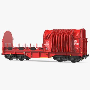 DB Cargo Coil Transporter Tarpaulin Freight Wagon Opened Clear 3D model