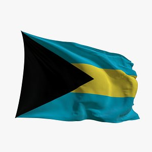 Realistic Animated Flag - Microtexture Rigged - Put your own texture - Def Bahamas 3D