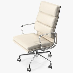 Executive Chair White Leather 3D model