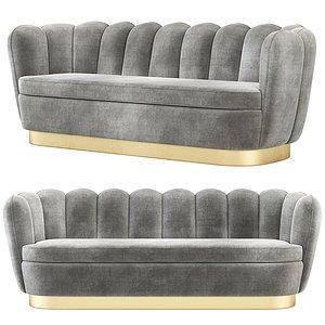 3D Eichholtz Mirage Velvet Sofa model