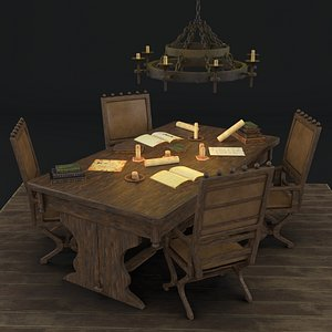 medieval reading table chair 3D model