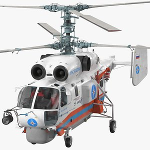 Kamov KA32 Russia EMERCOM Helicopter Rigged 3D model
