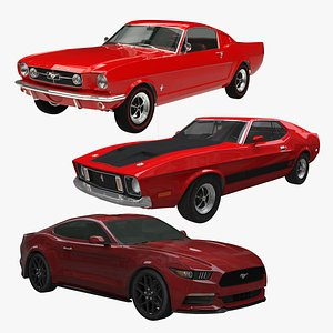 3D Ford Mustang Fastback Collection 1965 - 2017