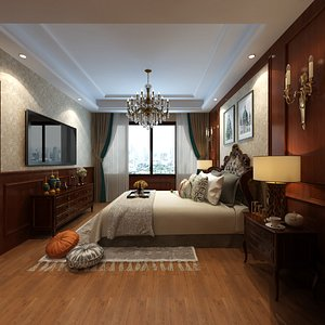 Hotel Bedroom and Private Office in Empire Style model
