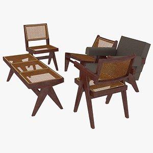 3D cassina mahogany seating model