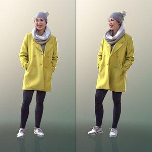 3D 10557 Bao - Woman In Yellow Coat With Hands In Pocket model