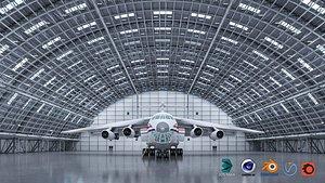 3D hangar scene warehouse