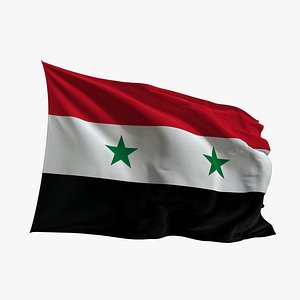 3D model Realistic Animated Flag - Microtexture Rigged - Put your own texture - Def Syria