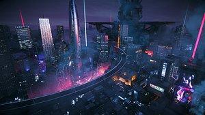 C4D Octane render Cyberpunk city Magic Wonder Skyscrapers CBD japan neon 3D