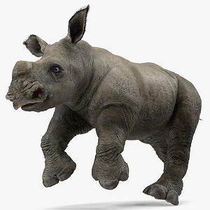rhino baby running pose model