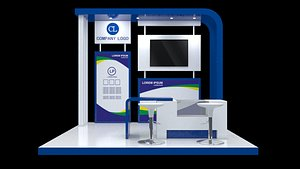 3D booth exhibition 3x3 poster model