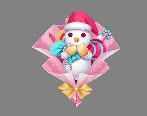 Cartoon snowman bouquet - Christmas present 3D model