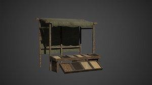 3D Medieval Old Wood Bazaar Shop