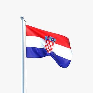 Animated Flag of Croatia 3D model