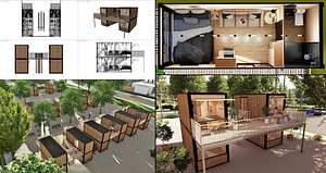 3D container hotel model