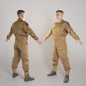 British infantryman character from WW2 in A-pose 297 3D model