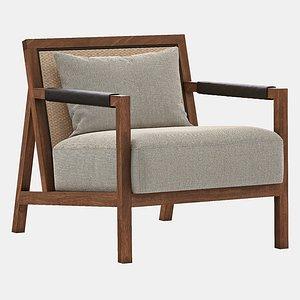 3D saiun lounge chair ottoman model