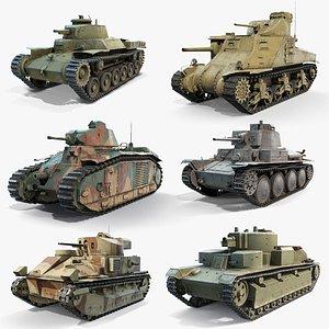 3D Inter-war Period Tanks Set model