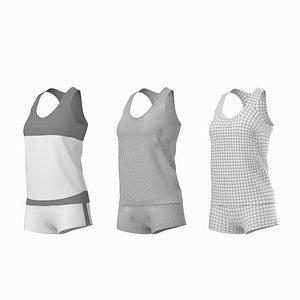 3D woman sportswear base mesh