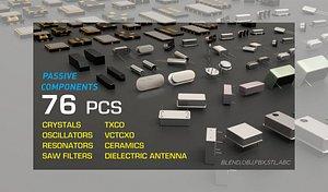 3D model Electronic Passive Components Crystal Oscillator Resonator 3D model