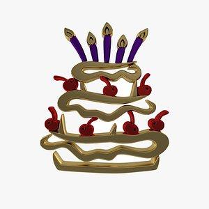 Birthday Golden Cake 3D model
