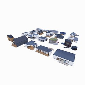 3D 20 Houses - Created with fully parametric Revit Families