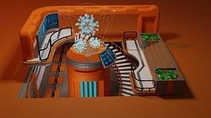 3D model virus lab laboratory