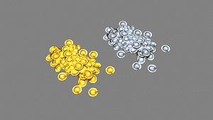 3D Cartoon gold and silver coins